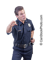 Law enforcement - Male Caucasian police officer in blue cop...
