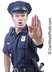 Stop right there - Male Caucasian police officer in blue cop...