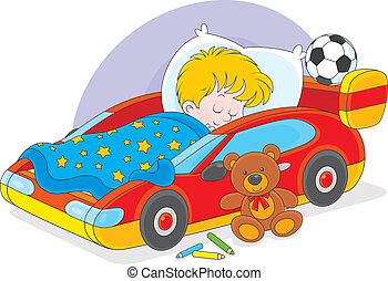 Boy sleeping - Little boy sleeps in his bed made as a sport...