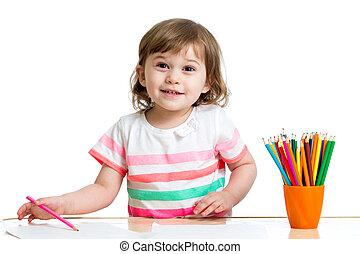 色, 鉛筆, 女の子, 図画, 子供