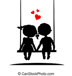 Silhouettes of a boy and girl - Silhouettes of a boy and a...