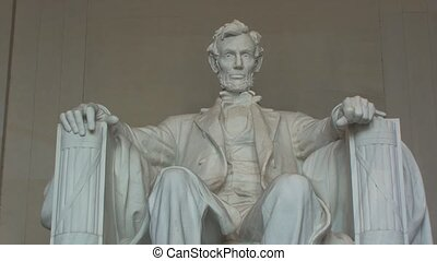Close-up of Lincoln Memorial in Washington, DC...