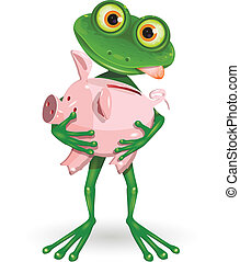 frog with piggy bank - Illustration a merry green frog with...