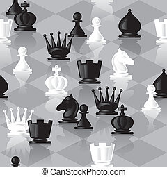 chess seamless - vector seamless background with chessmen