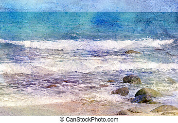 Aged sea shore - colorful watercolor weathered sea shore...