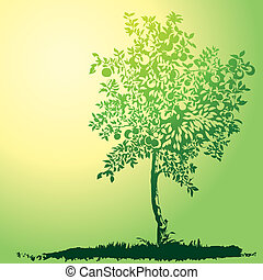 Apple Tree Silhouette, editable vector illustration