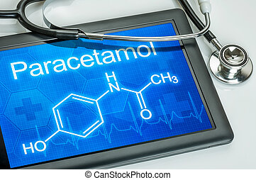 Tablet with the chemical formula of paracetamol