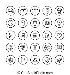 Classic game thin line icons set - Flat thin line icons set...