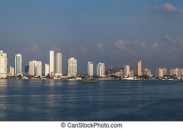 Cartagena, Colombia - White skyscrapers of Cartagena in...
