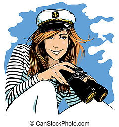 girl with binoculars - pretty girl in a sea peak-cap with...