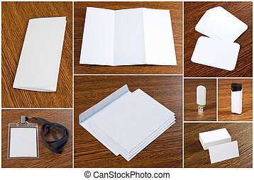 white collection of stationery on wooden background. - white...