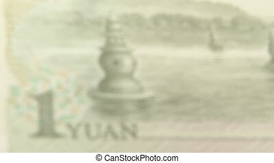 Chinese Money, 1 Yuan - Chinese currency, one Yuan, close...