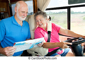 RV Seniors - Where To - Senior couple in their motor home...