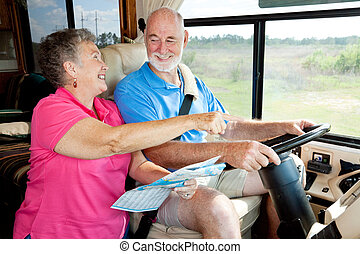 RV Seniors - Giving Directions - Senior couple on vacation...