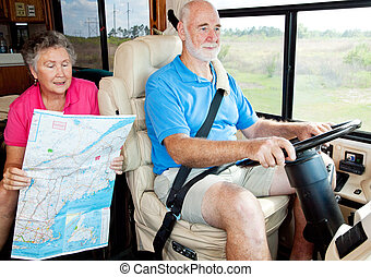RV Seniors - Backseat Driver - Senior couple on vacation in...