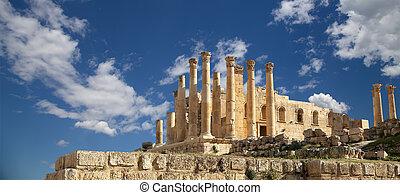 cidade, zeus, governorate, capital, Jerash, Jordanian,...