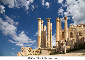 cidade, zeus, governorate, capital, Jerash, Jordanian,...