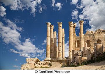Templo, zeus, Jordanian, cidade, Jerash, (Gerasa,...