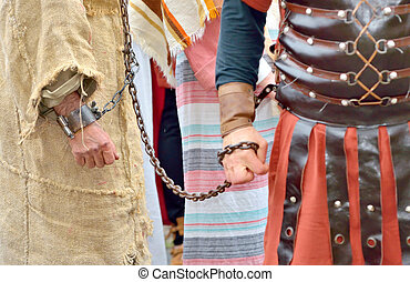 roman soldier and prisoner - roman soldier and handcuff...