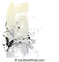 Abstract Background With Butterflies, editable vector...