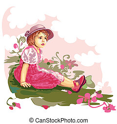 Child On Flower Meadow, editable vector illustration
