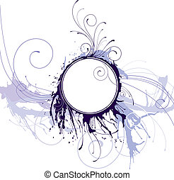 Abstract Ink Circle Frame, editable vector illustration