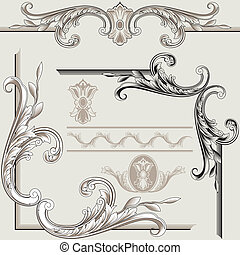clásico, decoración, elementos