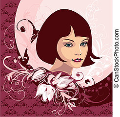 Woman Face On Floral Background, editable vector...