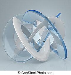 White blue glass torus knot 3d rendered
