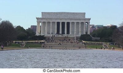 Lincoln Memorial with Lake in Washington, DC...