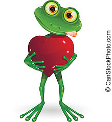 Frog with heart - illustration a merry green frog with heart
