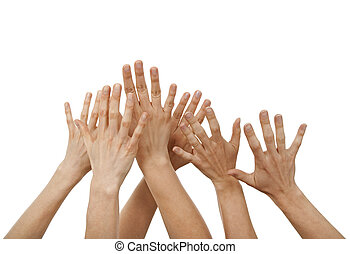 Raised hands, greeting or asking for help, isolated on white...