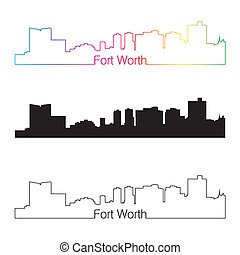 Fort Worth skyline linear style with rainbow in editable...