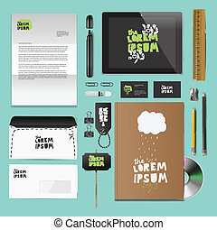Corporate identity templates:blank, business cards, disk,...