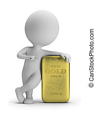 3d small people - gold ingot - 3d small person standing next...