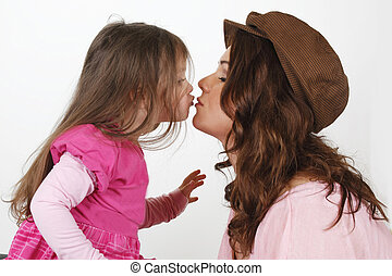 Mother kissing daughter - Mother kissing her sweet dauther...