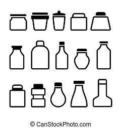 Jar Icons Set. Black Silhouette on White Background. Vector...