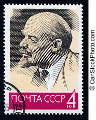 Vladimir Lenin - USRR 1963 - portrait of Vladimir Lenin on a...