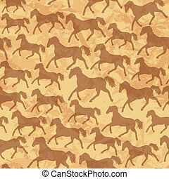 seamless pattern with wild horses Silhouettes on old paper texture background.  Ready to use as swatch.