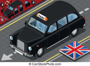 Isometric Black London Taxi in Front View - Detailed...