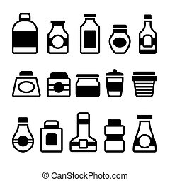 Jar Icons Set Black Silhouette on White Background Vector...