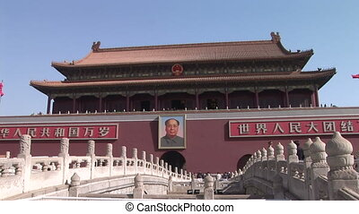 Chairman Mao and Forbidden City - Portrait of Chairman Mao...
