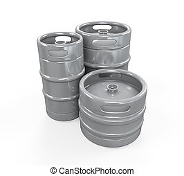 Metal Beer Kegs isolated on white background 3D render