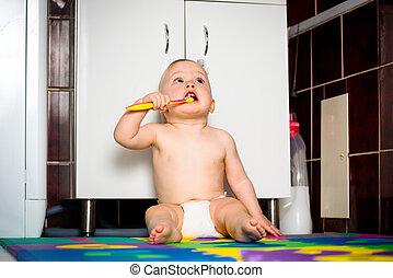 嬰孩, 浴室, 清掃, 牙齒