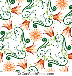 Floral Pattern On White Background, editable vector...
