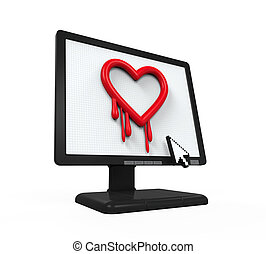 Heartbleed Bug in Computer Screen isolated on white...