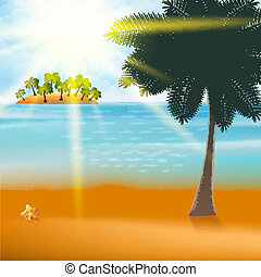 Summer Holiday Flyer Design with palm trees.