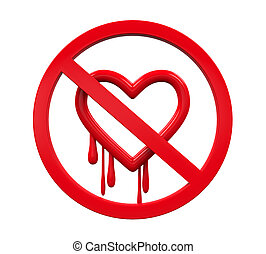 No Heartbleed Sign isolated on white background. 3D render