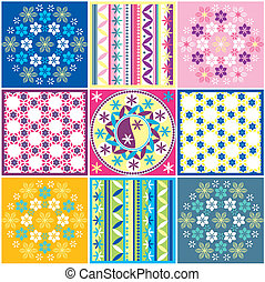 Variations Of Seamless Colored Pattern, editable vector...