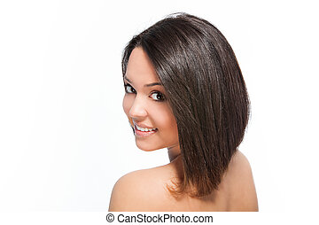 bob hairstyle - cute smiling young woman with bob hairstyle...